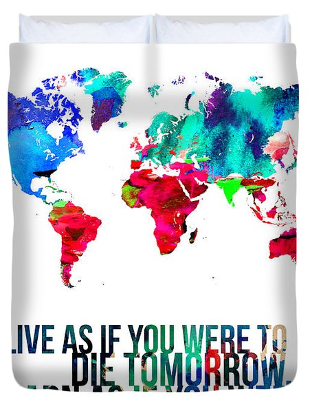 World Map With A Quote Duvet Cover by Naxart Studio