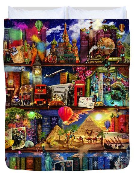 World Travel Book Shelf Duvet Cover by Aimee Stewart
