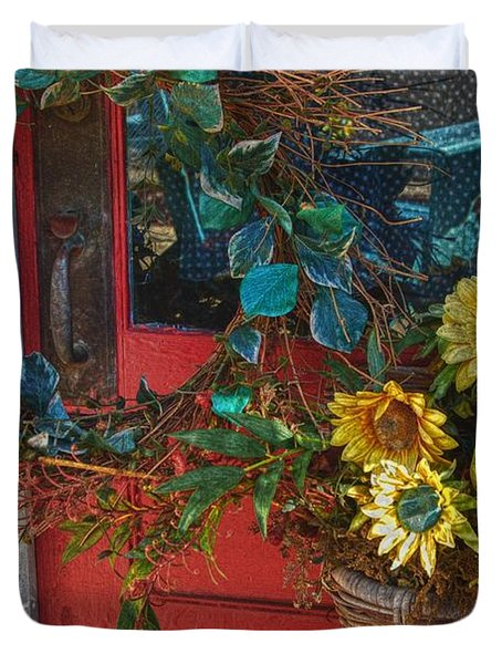 Wreath and the Red Door Duvet Cover by Michael Thomas