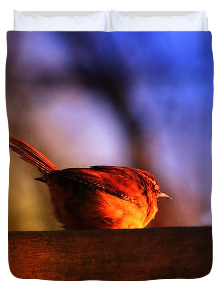 Wren In Early Morning's Light - Featured In In Newbies-nature Wildlife- Comfortable Art Groups Duvet Cover by EricaMaxine  Price