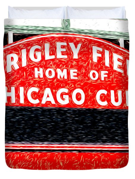 Wrigley Field Chicago Cubs Sign Digital Painting Duvet Cover by Paul Velgos