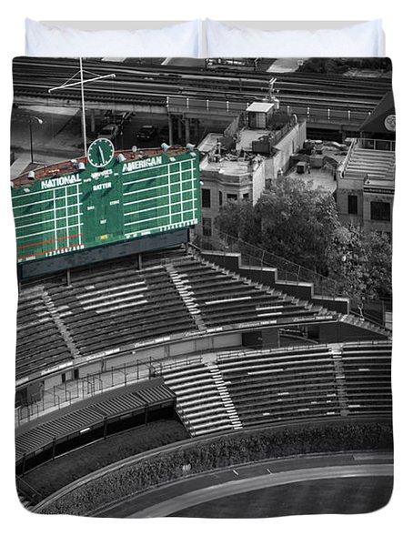 Wrigley Field Chicago Sports 04 Selective Coloring Duvet Cover by Thomas Woolworth
