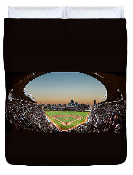 Wrigley Field Night Game Chicago Duvet Cover by Steve Gadomski