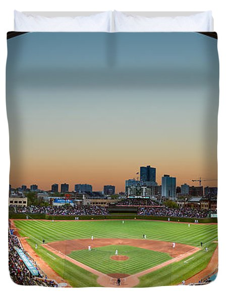 Wrigley Field Night Game Chicago Duvet Cover by Steve Gadomski