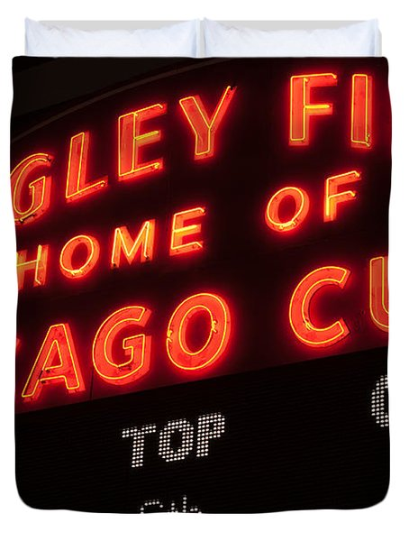 Wrigley Field Sign at Night Duvet Cover by Paul Velgos