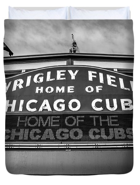Wrigley Field Sign in Black and White Duvet Cover by Paul Velgos