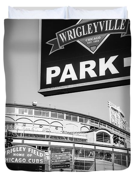 Wrigleyville Sign And Wrigley Field In Black And White Duvet Cover by Paul Velgos