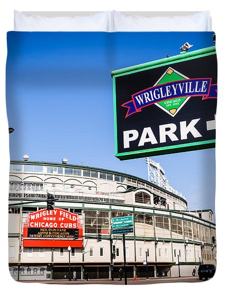 Wrigleyville Sign And Wrigley Field In Chicago Duvet Cover by Paul Velgos