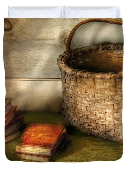 Writer - A Basket And Some Books Duvet Cover by Mike Savad