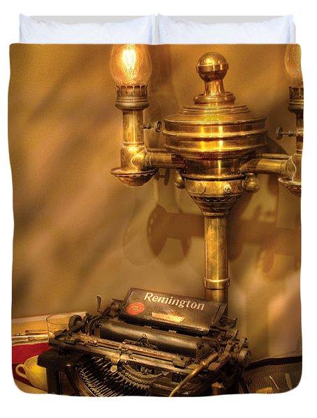 Writer - Remington Typewriter Duvet Cover by Mike Savad