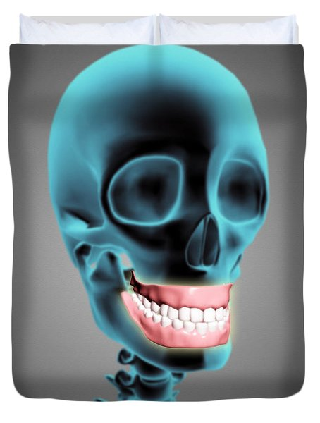 X-ray View Of Human Skeleton Showing Duvet Cover by Stocktrek Images
