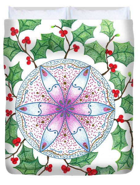 X'mas Wreath Duvet Cover by Keiko Katsuta