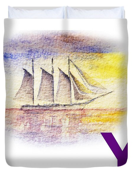 Y Art Alphabet for Kids Room Duvet Cover by Irina Sztukowski