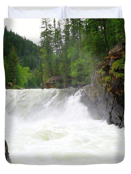 Yaak Falls Duvet Cover by Jeff Swan