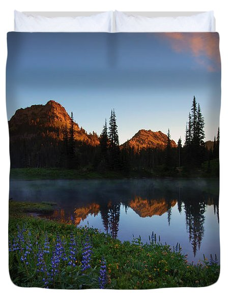 Yakima Peak Sunrise Duvet Cover by Mike  Dawson