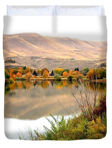 Yakima River Autumn Duvet Cover by Carol Groenen