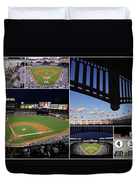 Yankee Stadium Collage Duvet Cover by Allen Beatty