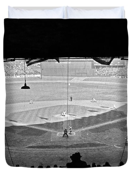 Yankee Stadium Grandstand View Duvet Cover by Underwood Archives