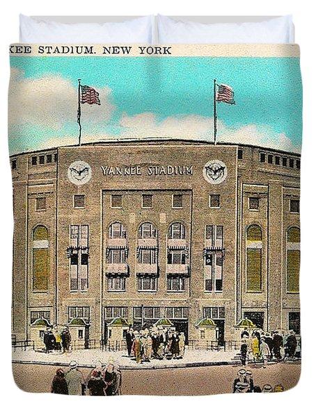 Yankee Stadium Postcard Duvet Cover by Digital Reproductions