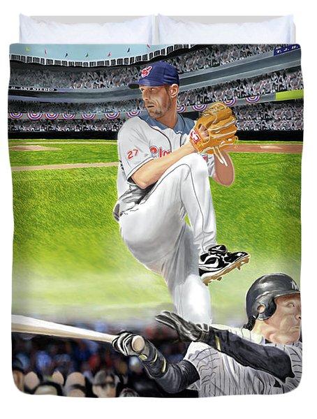 Yankees Vs Indians Duvet Cover by Thomas J Herring