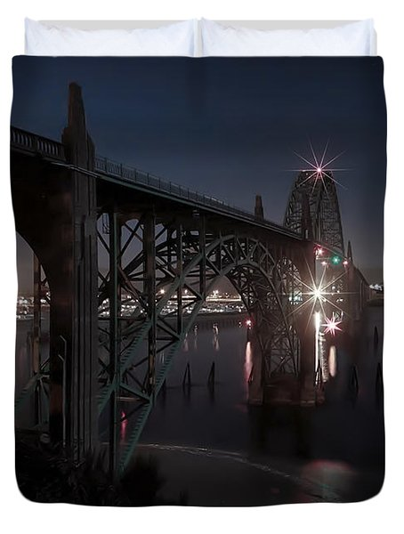 Yaquina Bay Bridge - Newport Oregon Duvet Cover by Daniel Hagerman