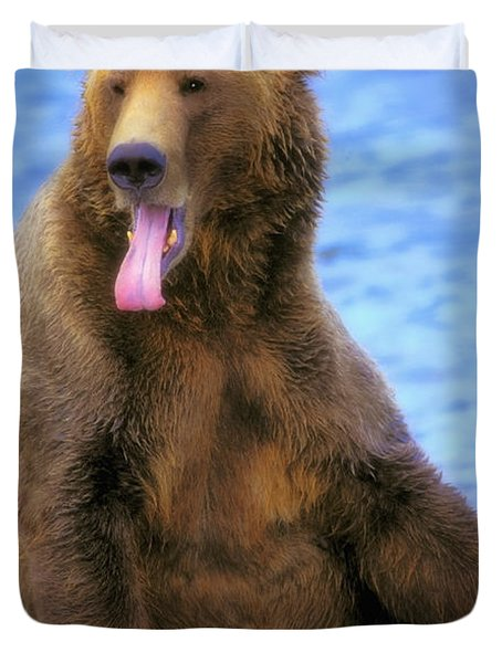 Yawning Grizzly Bear Sitting By Waters Duvet Cover by Thomas Kitchin & Victoria Hurst