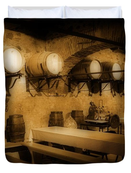 Ye Old Wine Cellar In Tuscany Duvet Cover by John Malone