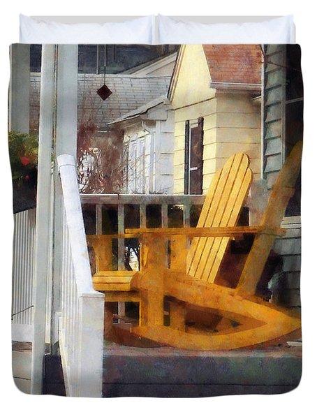 Yellow Adirondack Rocking Chairs Duvet Cover by Susan Savad