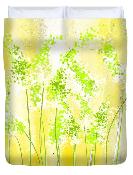 Yellow And Green Art Duvet Cover by Lourry Legarde