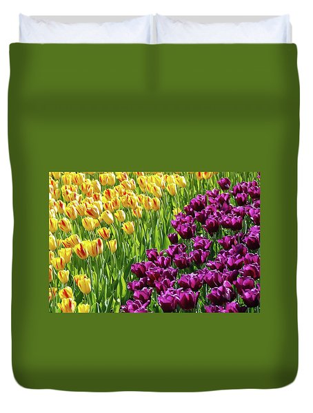 Yellow and Purple Tulips Duvet Cover by Allen Beatty