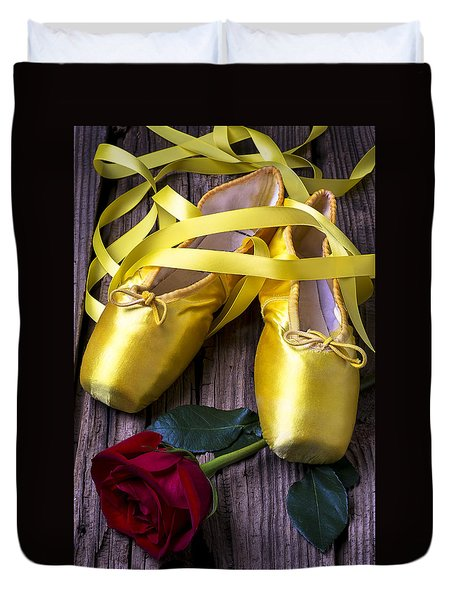 Yellow Ballet Shoes Duvet Cover by Garry Gay