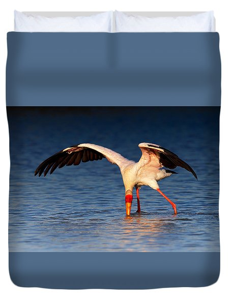 Yellow-billed Stork Hunting For Food Duvet Cover by Johan Swanepoel