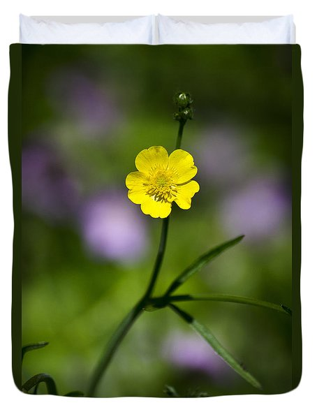 Yellow Buttercup Duvet Cover by Christina Rollo