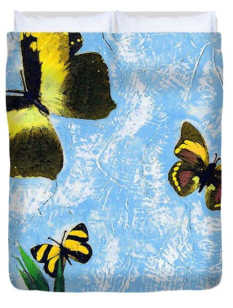 Yellow Butterflies - Spring Art By Sharon Cummings Duvet Cover by Sharon Cummings