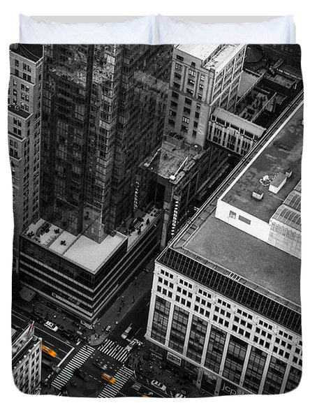 Yellow Cabs - Bird's Eye View Duvet Cover by Hannes Cmarits