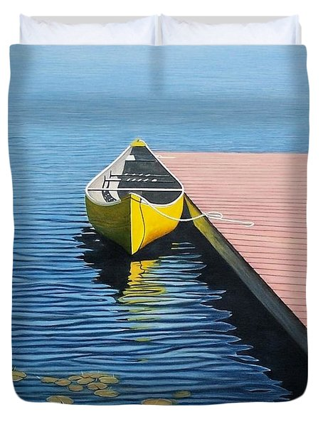 Yellow Canoe Duvet Cover by Kenneth M  Kirsch