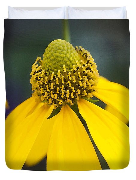 Yellow Cone Flower Rudbeckia Duvet Cover by Rich Franco