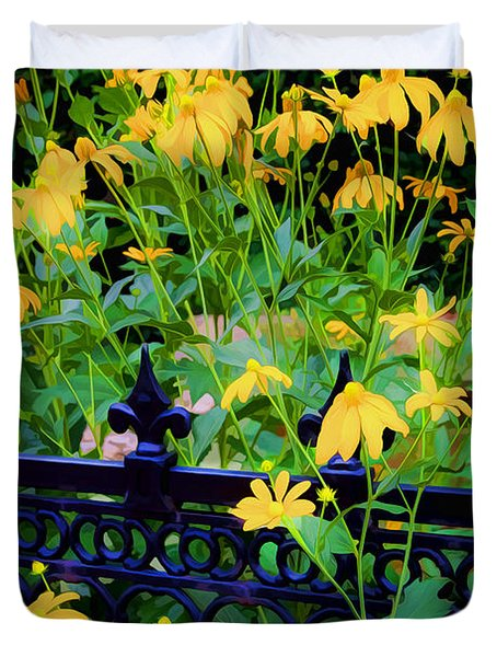 Yellow Coneflowers Echinacea Wrought Iron Gate Duvet Cover by Rich Franco
