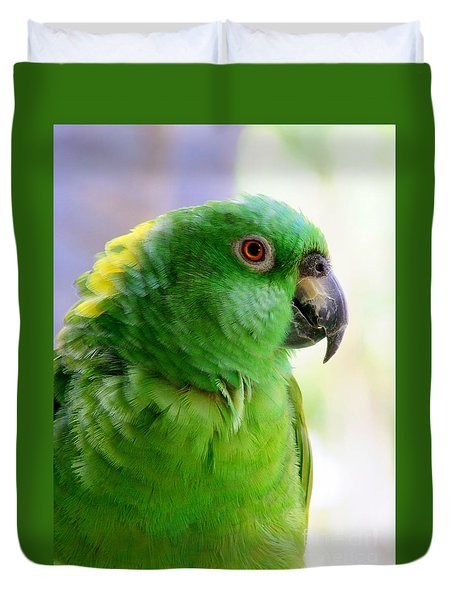 Yellow Crowned Amazon Parrot No 1 Duvet Cover by Mary Deal