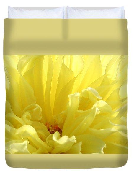 Yellow Dahlia Burst Duvet Cover by Ben and Raisa Gertsberg