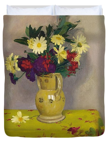 Yellow Daisies And Various Flowers Duvet Cover by Felix Edouard Vallotton