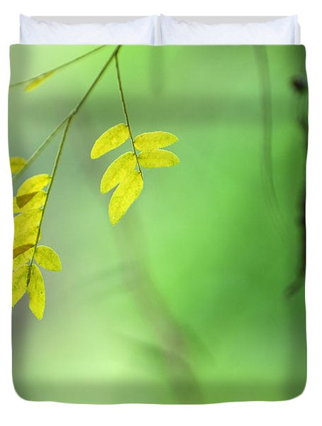 Yellow Leaves Duvet Cover by Guido Montanes Castillo