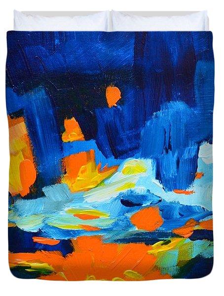 Yellow Orange Blue Sunset Landscape Duvet Cover by Patricia Awapara