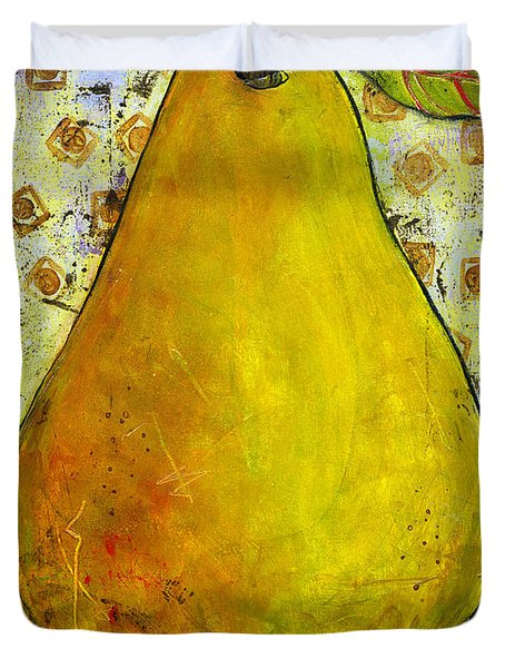 Yellow Pear on Squares Duvet Cover by Blenda Studio