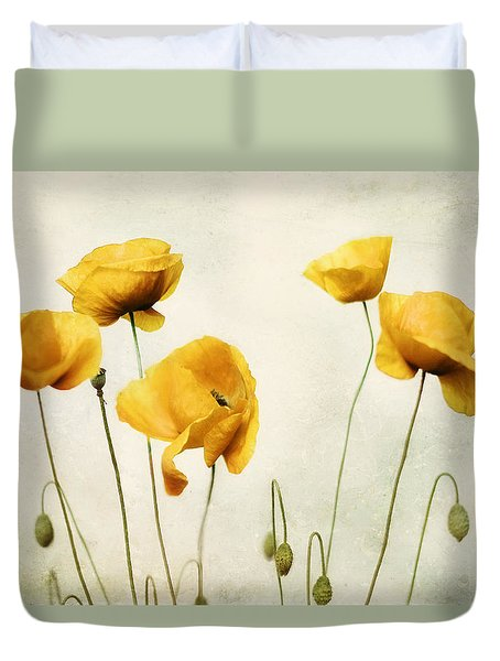 Yellow Poppy Photography - Yellow Poppies - Yellow Flowers - Olive Green Yellow Floral Wall Art Duvet Cover by Amy Tyler