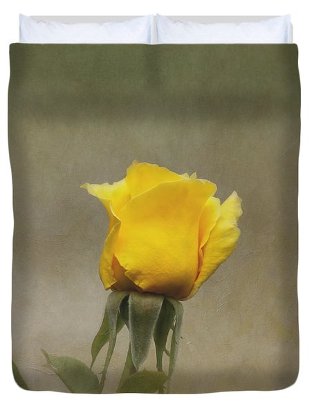 Yellow Rose Duvet Cover by Kim Hojnacki