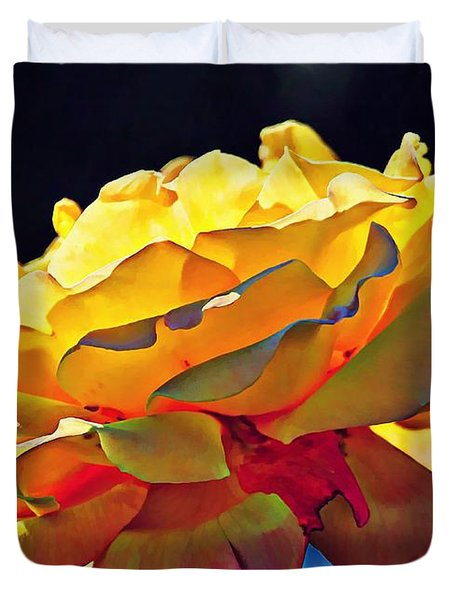Yellow Rose Series - Crispy Duvet Cover by Lilia D