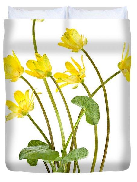 Yellow Spring Wild Flowers Marsh Marigolds Duvet Cover by Elena Elisseeva