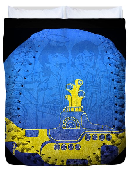 Yellow Submarine 2 Baseball Square Duvet Cover by Andee Design