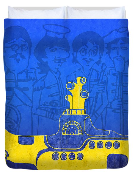 Yellow Submarine Duvet Cover by Andee Design